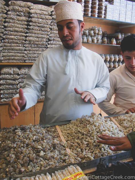 A frankincense vendor in Oman shows his wares | Green Cottage Creek | Photo Klaus Vogt
