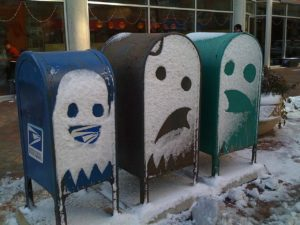 snow ghosts mailboxes